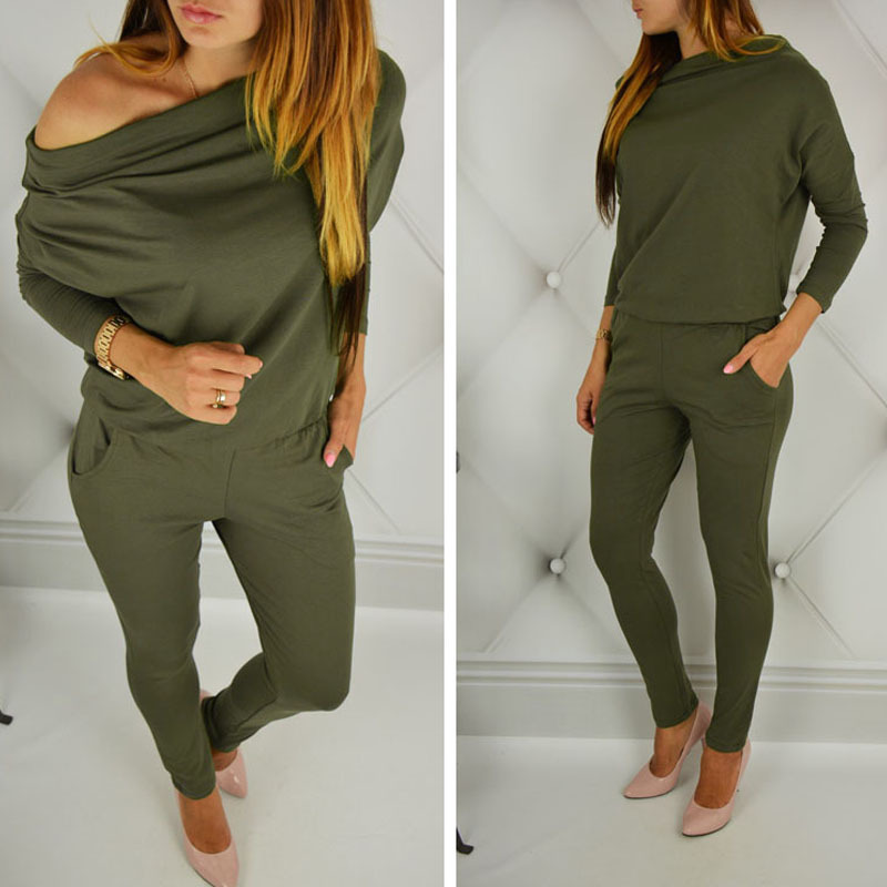 Women cotton long sleeve off shoulder   jumpsuit   Casual Rompers overalls for female women mid waist   jumpsuits   women S M L XL