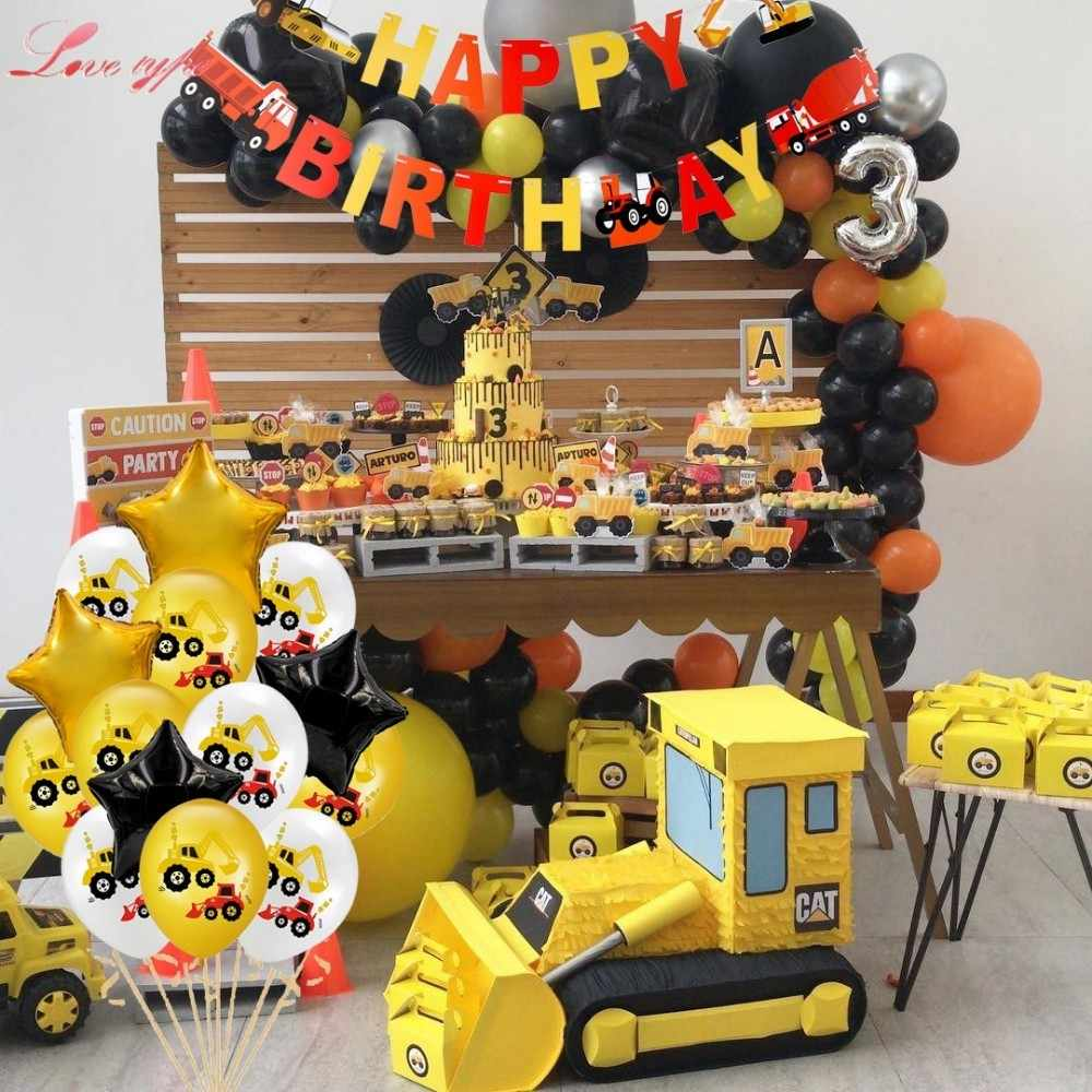 1Set Excavator Inflatable Balloons Construction Tractor Ball Truck Vehicle Banners Baby Shower Kids Boys Birthday Party Supplies