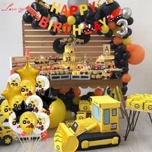 1 セットショベルインフレータブル風船建設トラクターボールトラック車両バナーベビーシャワーキッズボーイズ誕生日パーティー用品