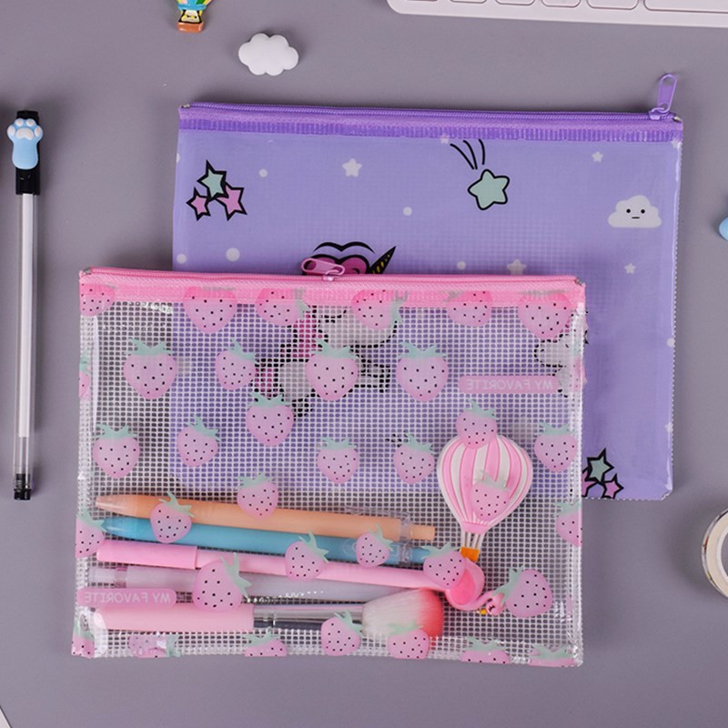 4pcs/lot A4/A5/B6/Mini Strawberry Waterproof PVC File Bag Stationery Pencil Case For Students Gift