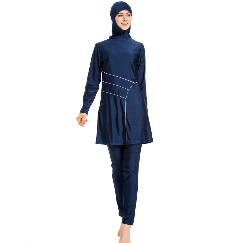 Muslim Swimwear conservative solid color ladies swimsuit with hat elegant thin beachwear with cap three-piece swimsuit
