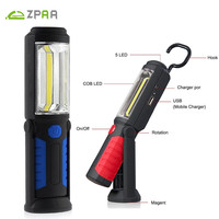 2 Modes Portable COB LED USB Rechargeable Work Light Lamp Flashlight With Magnet Hanging Hook For