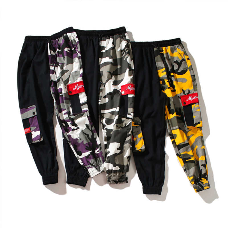 Gelb Rosa Camouflage Cargo Hosen Männer Frauen 2018 Hohe Qualität Hip Hop Streetwear Jogger Hosen Paar Camo Jogginghose Kleidung