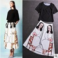 Free Shipping Spring/Summer Runway Fashion Women's Casual Black Top+Prined Long Skirt Two-piece Silk Skirt Suit