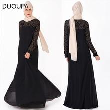 Купить с кэшбэком Muslim Robes Clothes Fashion Robes Full Length Fake Two-piece National Costume Dubai Abaya Long Sleeve Cardigan Maxi Dress