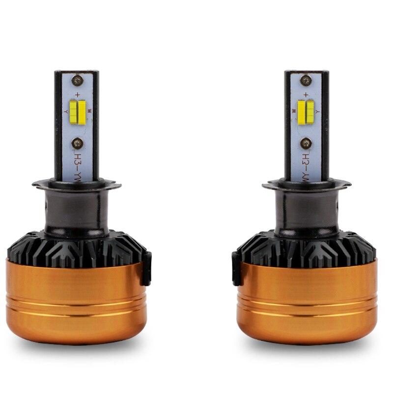 1 Set H3 50 W 5800LM Z5 Tri-colour phare LED tout-en-un FLIP Chips or jaune blanc 3000 K 4300 K 6000 K 3 couleurs Switchback