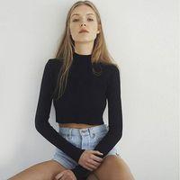 Women Slim Soft Elastic Turtleneck Solid Crop Tops Girl Full Sleeve Short T-Shirts Tees
