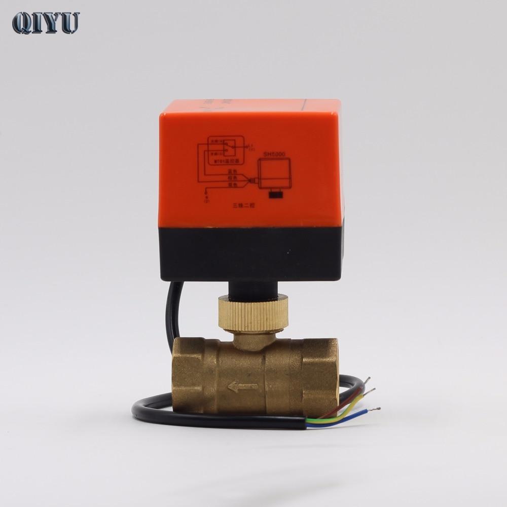 AC 220 v DN15 DN20 Aria condizionata riscaldamento a pavimento mini elettrica a due vie valvole, tre linea due elettrico valvola a sfera di controllo del cancello
