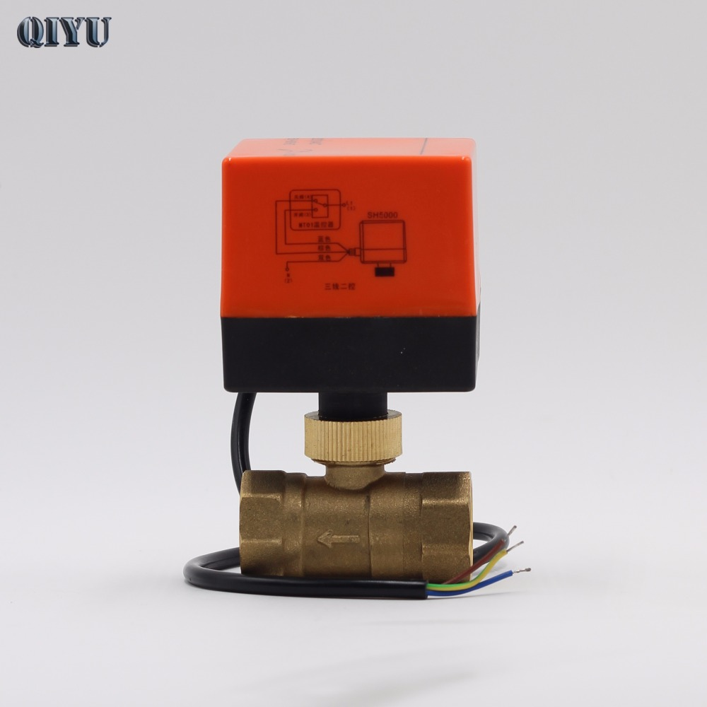 цена на AC 220V DN15 DN20 Air conditioning heating floor mini electric two-way valves,Three line two electric control ball valve gate
