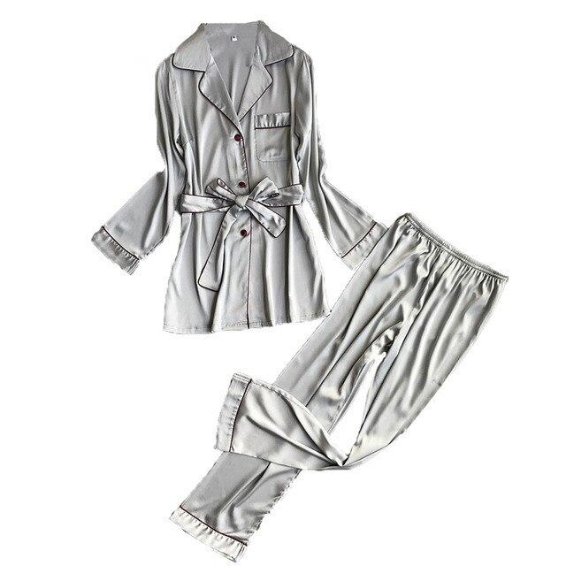 2018 New Fashion Spring Autumn Women High Grade Silk Pajama Set Female Luxury Bath Robe Suit Elegant Sleepwear Homewear