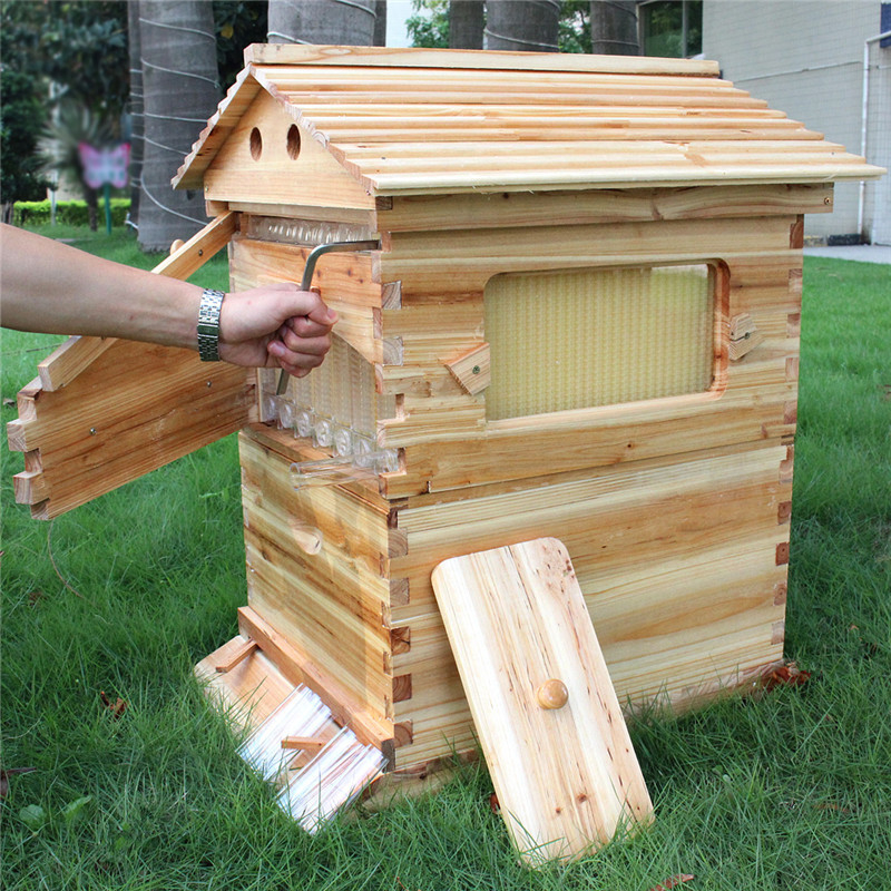 buy free shipping auto honey flow hive langstroth wooden beehive house kit for. Black Bedroom Furniture Sets. Home Design Ideas