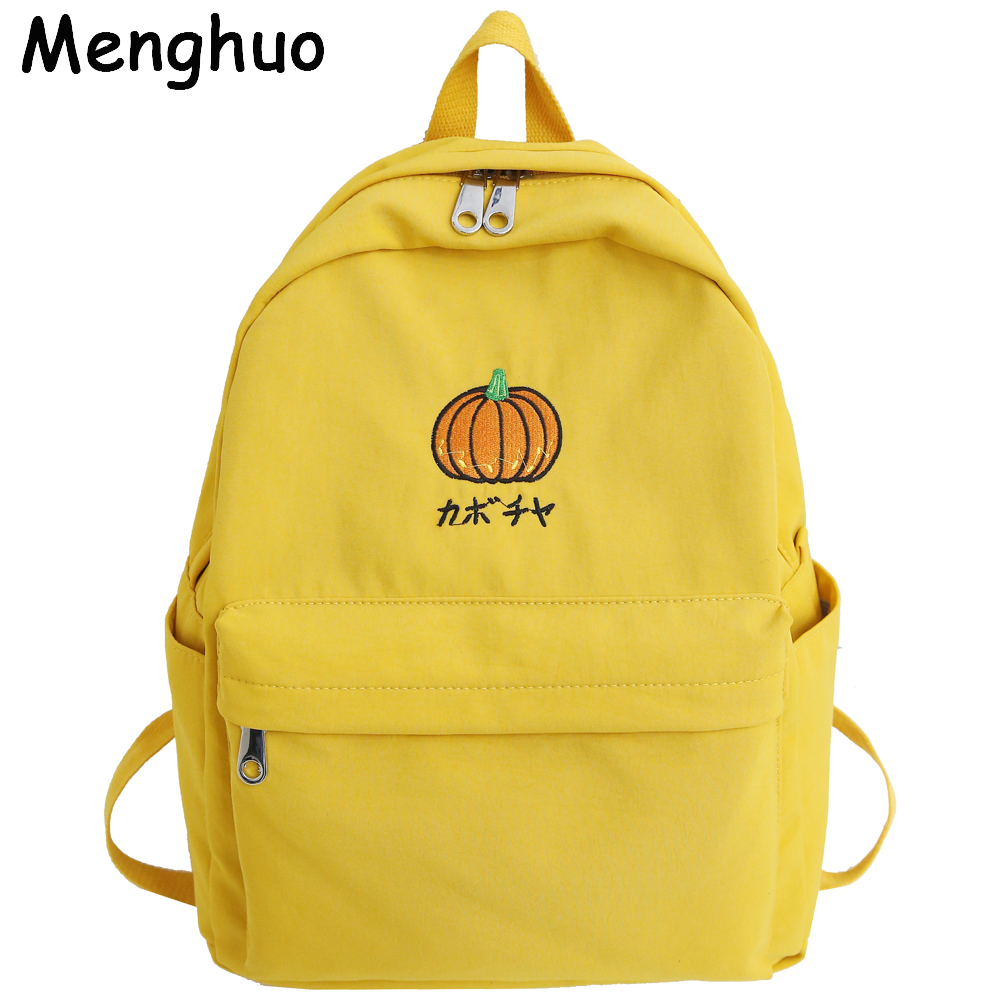 Menghuo Large Capacity Casual Waterproof Nylon Women Backpack Cute Cartoon Fruit Embroidery Girl Preppy School Backpack Mochilas