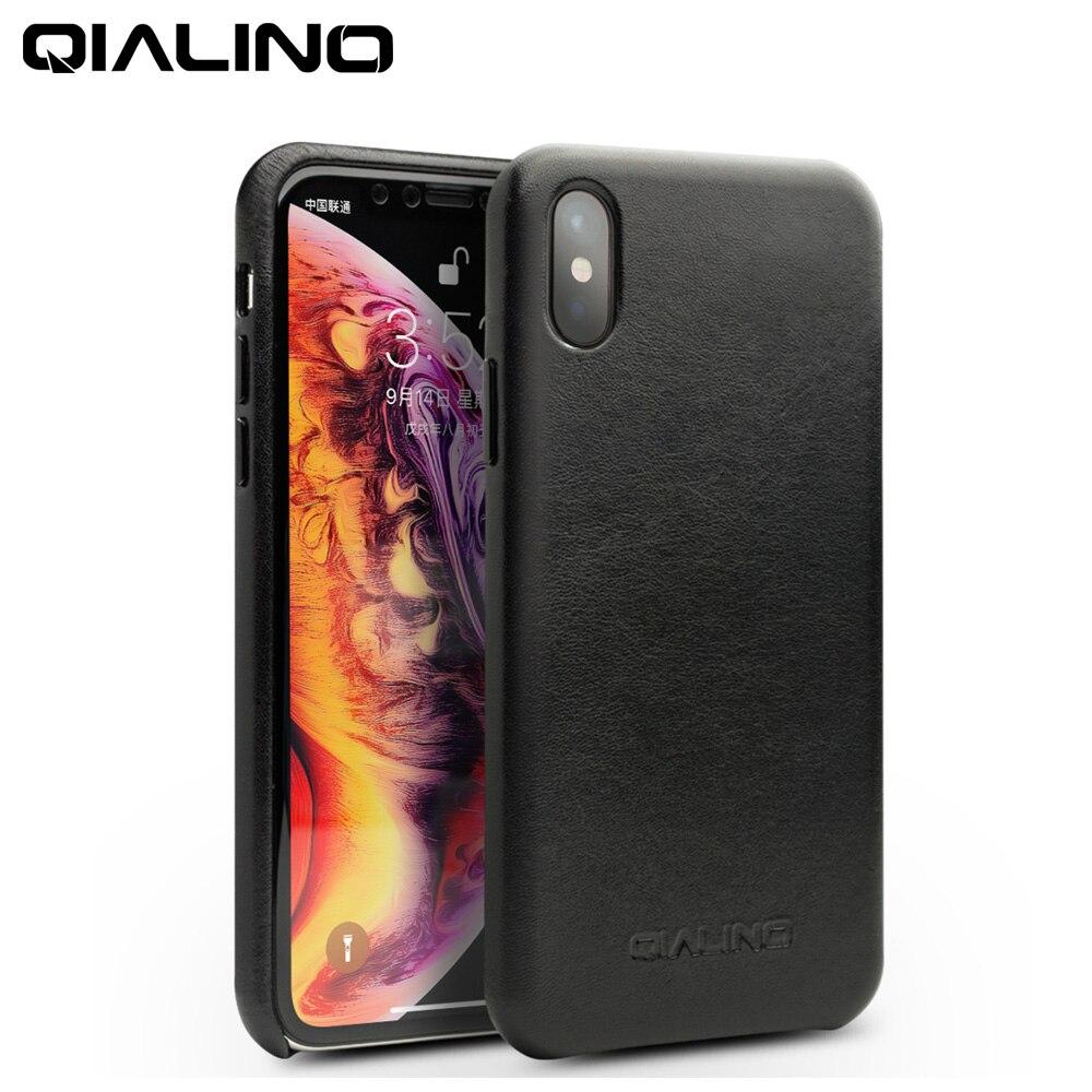 QIALINO Véritable En Cuir Demi-enveloppé Téléphone Cas pour Apple pour iPhoneXS Max De Luxe Ultra-Mince Main Couverture Arrière pour iPhone XS/XR