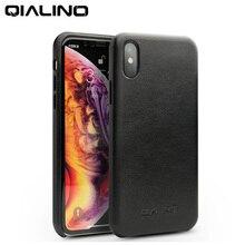 QIALINO אמיתי עור חצי עטוף טלפון מקרה עבור אפל עבור iPhoneXS מקס יוקרה UltraThin בעבודת יד חזרה כיסוי עבור iPhone XS/XR