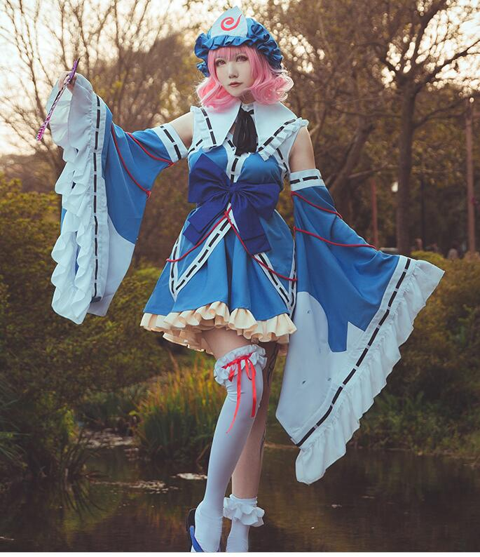 Yuyuko TouHou Project Saigyouji Yuyuko cosplay costume lolita dress female costume made customized vestidos