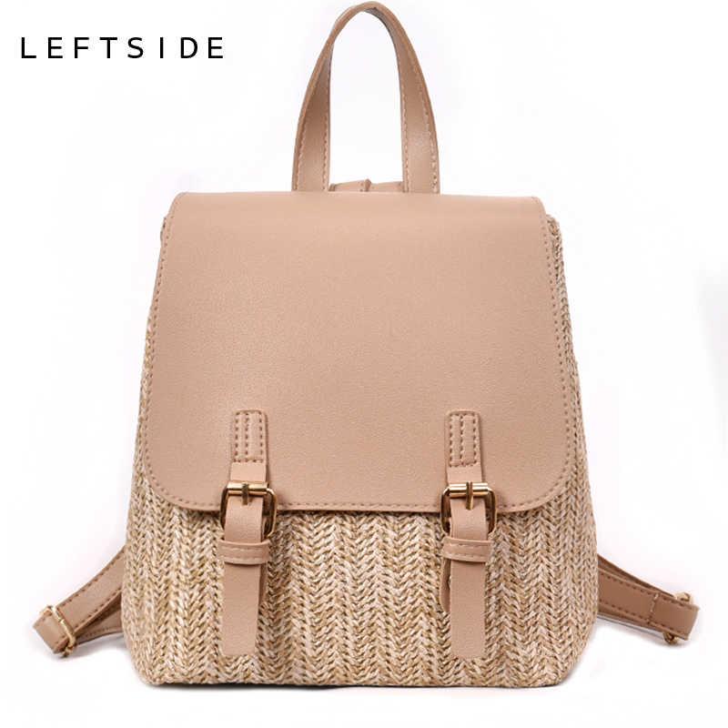 cabb20e5d9 LEFTSIDE Famous Brand Straw Backpack Women Back Pack Summer Teenage Girl  Quality Backpacks Travel Bags Books