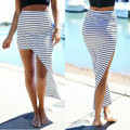 Boho Women Summer Chiffon Stripe Short Mini Dress Skirt High Waist Beach Skirt