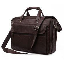 Vintage Real Genuine Leather Men messenger bags coffee black bussiness briefcase men travel bags 15 6