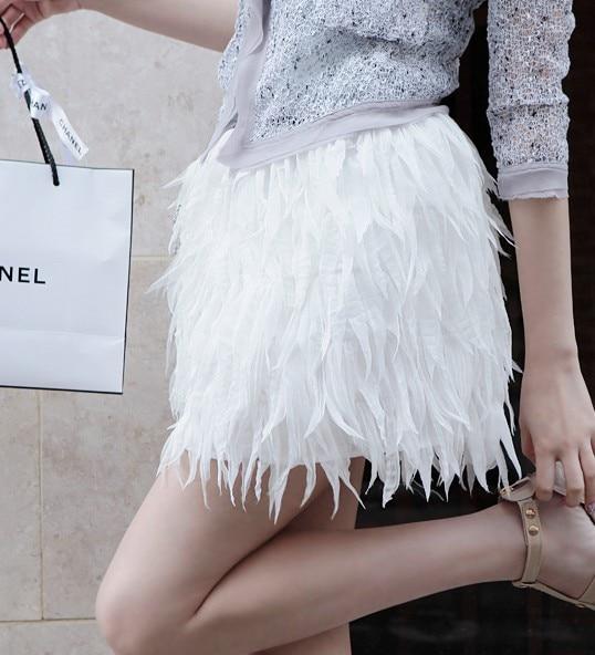 Women White Feather Lace Tassel Elegant High Waist Casual Skirt A line Thin Mini Skirt D373