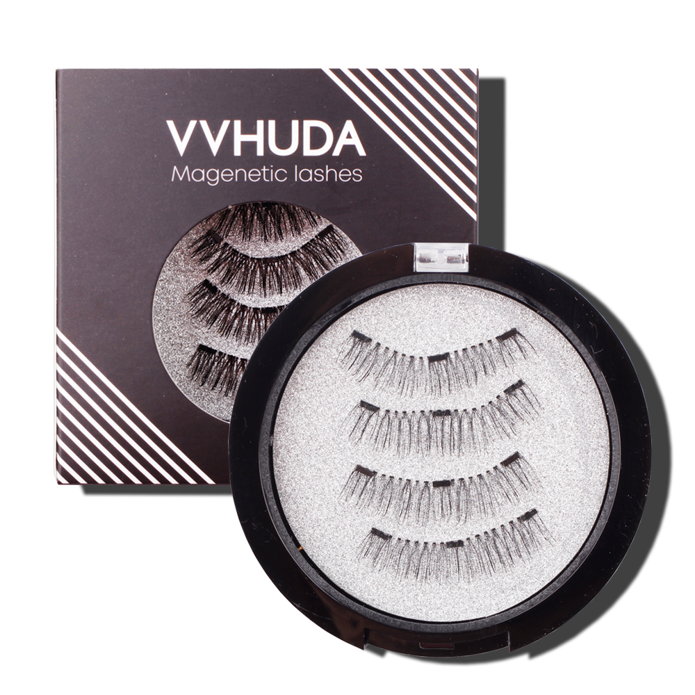 VVHUDA Magnetic Eyelashes 3D Reusable Fake Lashes Extension Synthetic Fibers Eyelash Magnet Professionl Makeup Natural Handmade