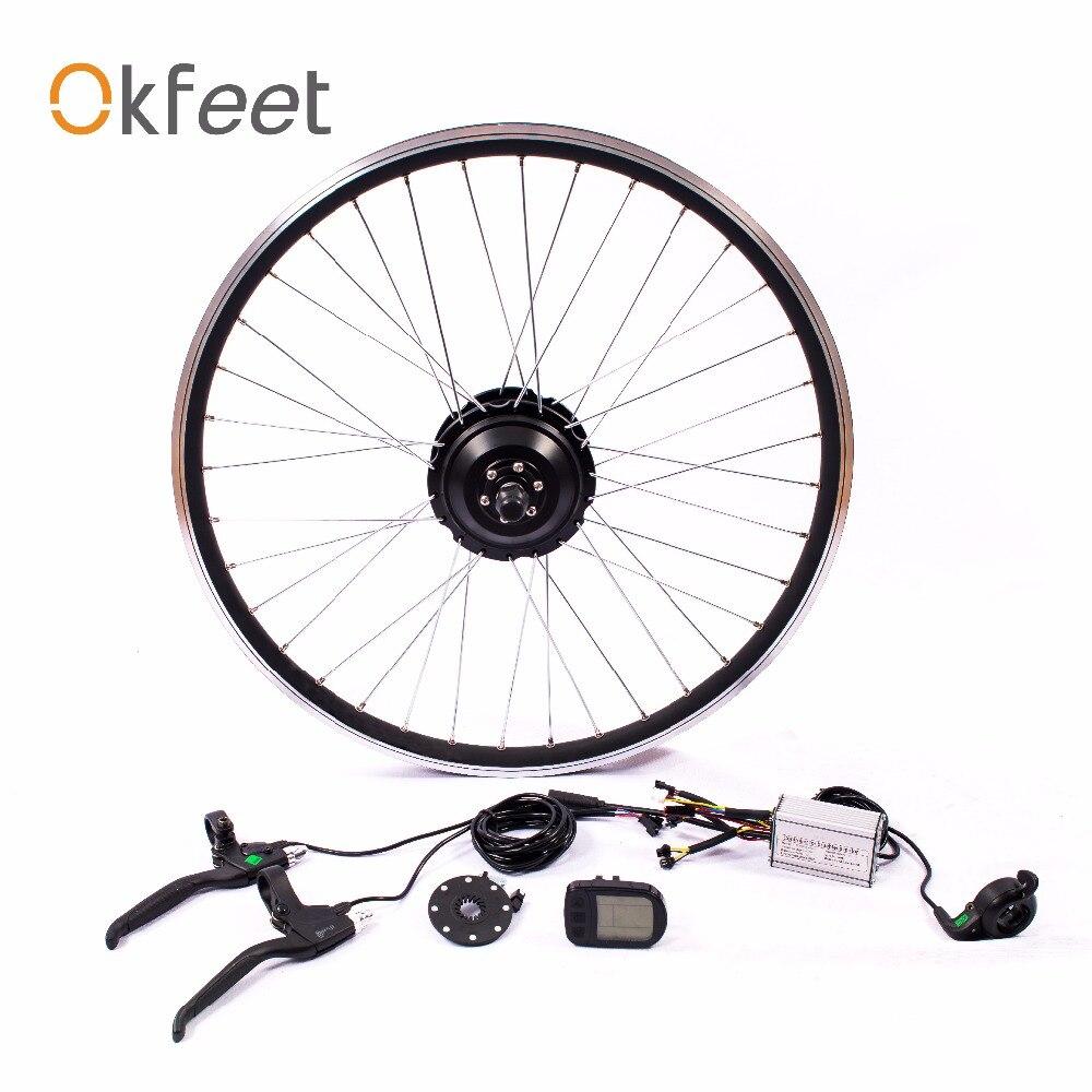 Okfeet 36V 350W hub motor wheel Ebike Kit black for 26 27.5 28 700C Front / Rear Rotate velo electrique LCD CE