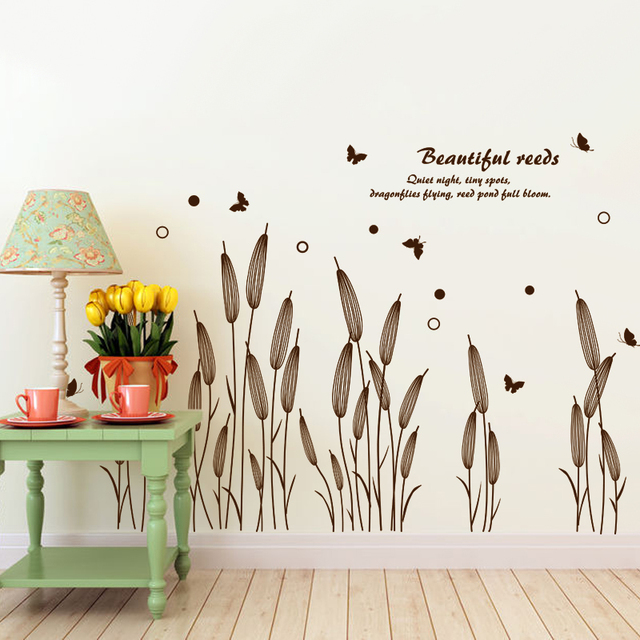 reed grass wall sticker stairs rural style plant wall decal for living room living room home. Black Bedroom Furniture Sets. Home Design Ideas