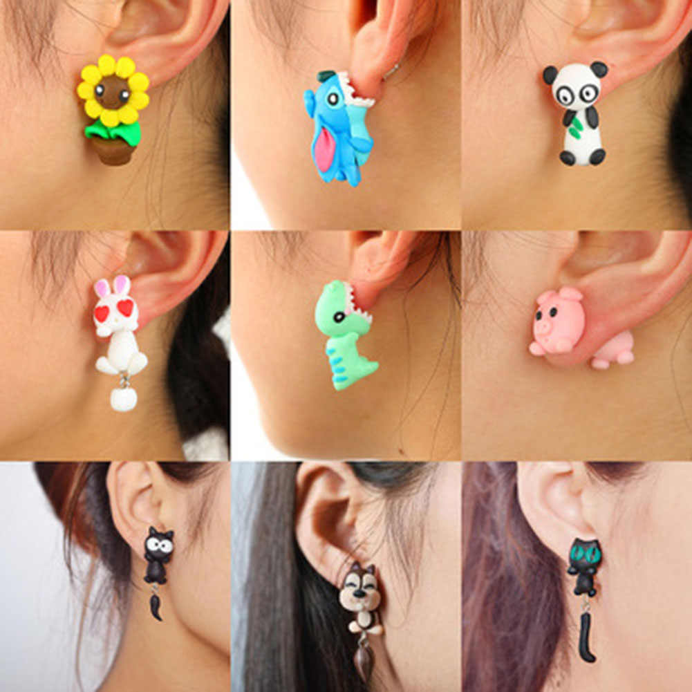 Cute Cartoon Animal Shark Elephant Cat  Panda Stud Earrings Girl's  Soft Pottery Earrings