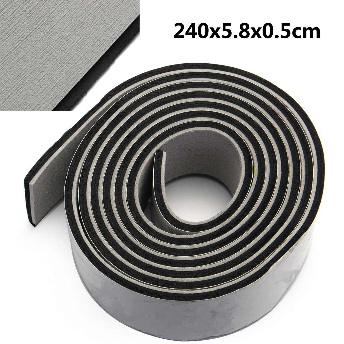 2400x58x5mm Self-Adhesive EVA Foam Boat Marine Boat Flooring Faux Boat Teak Decking Sheet Accessories Marine Pad Gray & Black