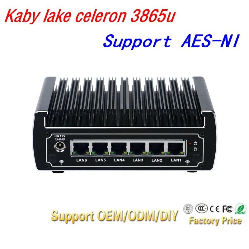 Pfsense Computers Intel Kaby Lake Celeron 3865u Dual Core Fanless Mini Pc 6 Gigabit Lans Firewall Router Support AES-NI 4*USB3.0