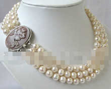 +++++++3row 10mm white round freshwater pearl necklace-cameo clasp(China)