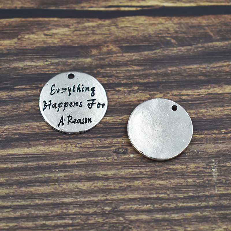 20Pcs Silver Lettering Everything Happens For A Reason Dangle Charm Jewelry Alloy Metal Pendants Hand Stamped
