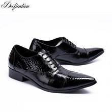 цена на Italian Deisign Mens Business Leather Shoes Lace Up Male Formal Flats Genuine Leather Men Wedding Shoes Chaussure Mariage Homme