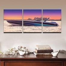 Современные картины холст масло плакат HD печатных Wall Art комплект из 3 предметов домашнего декора закат яхт корабль лодка морской пейзаж живопись-защелка Pengda