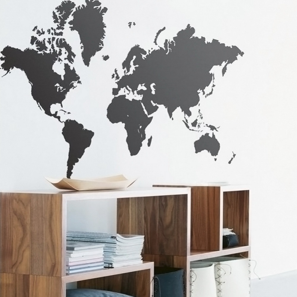 New Styles Extra Large World Map Can Remove Purple Carnations Pvc - Custom vinyl wall decals large   how to remove