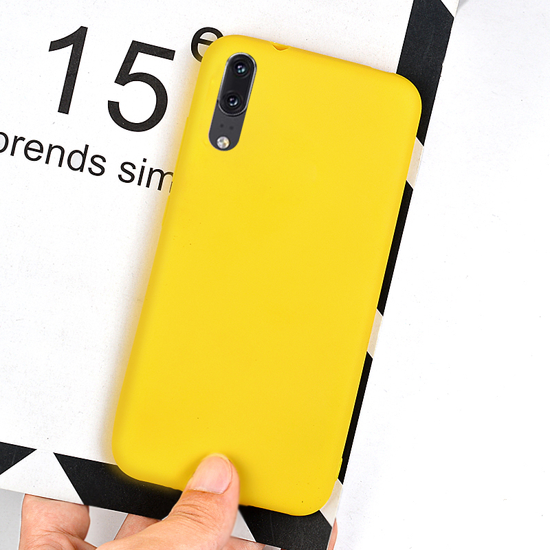 Candy Color Yellow Case For Huawei P20 Pro P10 P9 Plus P8 Lite Simple Matte Silicone Cover For Huawei Mate 9 Pro 10 Lite