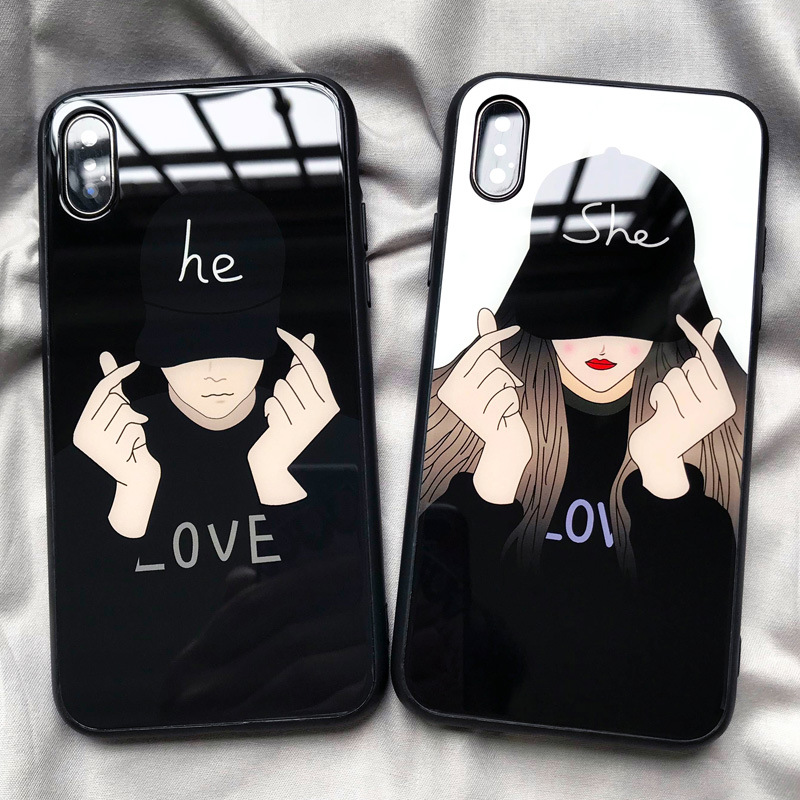 phone Case For iPhone XR 6 7 8 Plus 6 7 8 X Tempered Glass For iPhone 7 Plus XS XS Max Male and Female Couple phone Cover Bag in Fitted Cases from Cellphones Telecommunications