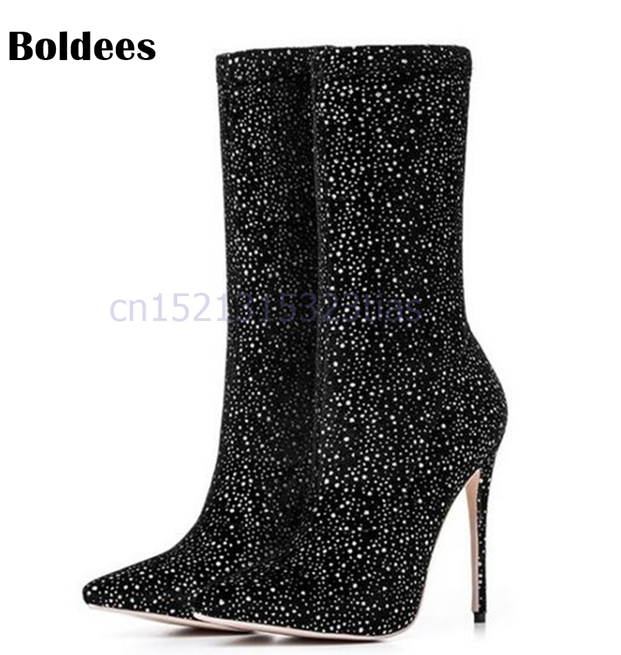 Sexy High Heel Sock Boots Women Mid-Calf Boots Pointed Toe Sequined Stretch Newest Fashion Short Boots stylish women s mid calf boots with solid color and fringe design