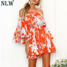 NLW Floral Print Dress Off Shoulder Ruffle Dress Women Summer Red Flare Sleeve Mini Dress Femme Girl Boho Beach Casual Vestidos
