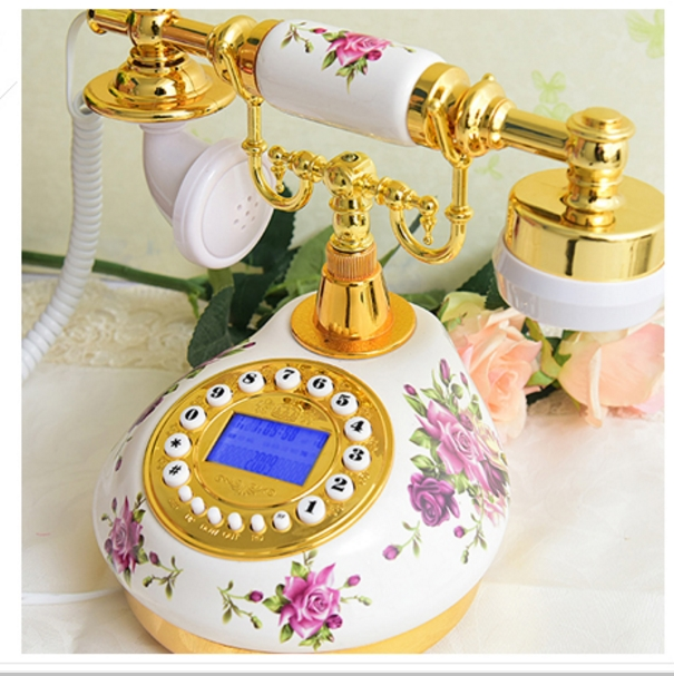 ceramic rustic antique telephone home fashion vintage telephone Handsfree blue Backlit Caller ID 8970
