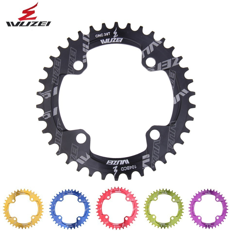 WUZEI Bicycle Round Shape Narrow Wide Chainwheel 32T 34T 36T 38T 104BCD Chainring Bike Cycle Chainwheel