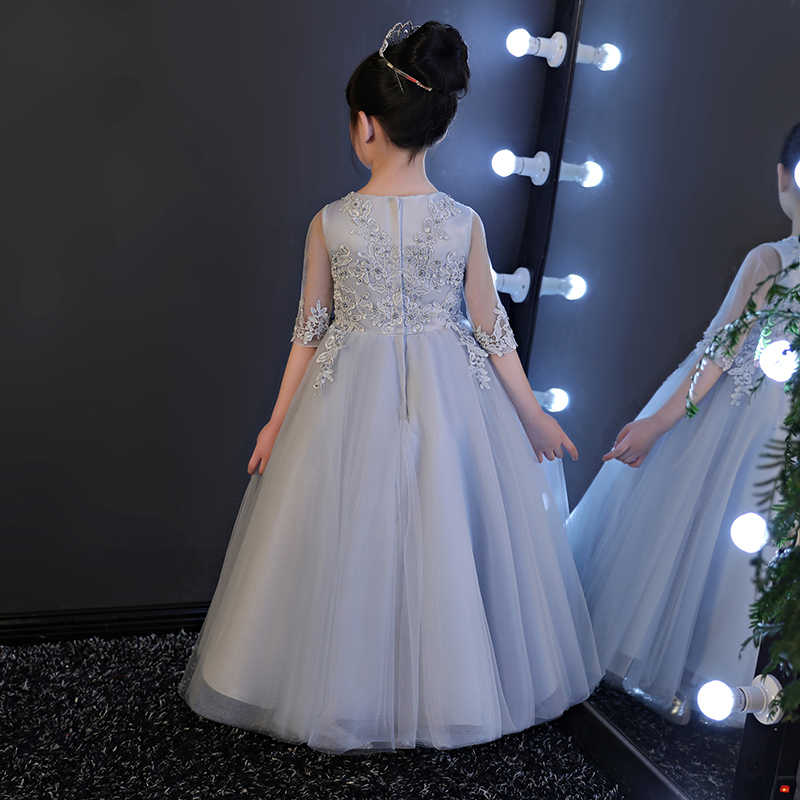 ... flower girl dresses gray 2017 fancy dress for children birthday party  princess 10 to 12 years ... af681e5d35f6