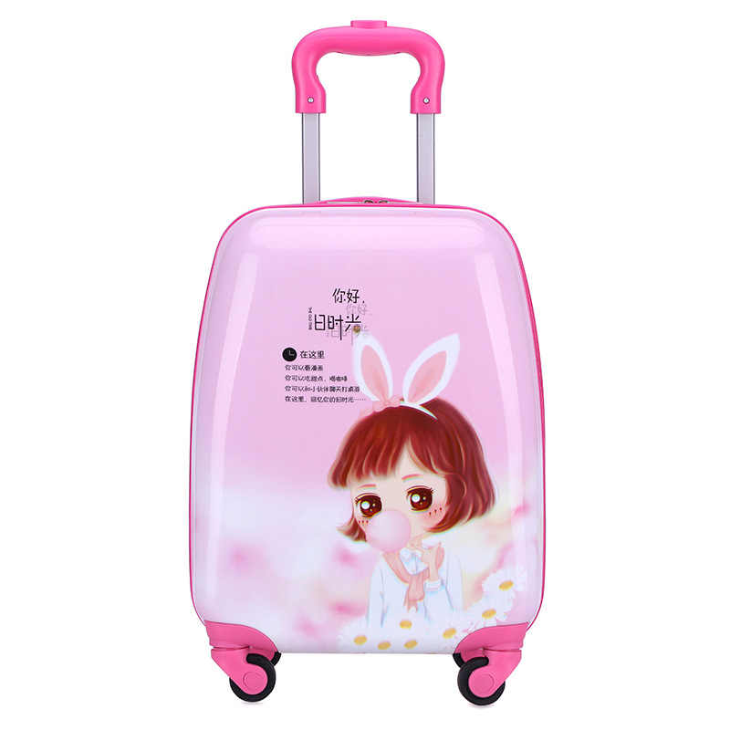 """18 """"carry-on чемодан с колесиками детский Спиннер чемодан путешествия тележка для багажа на колесах сумки child1en's чемоданы стержень коробка животных"""