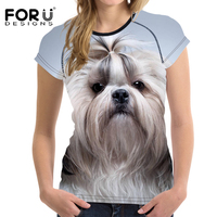 FORUDESIGNS Kawaii 3D Shih Tzu Women T Shirt Tees Woman Tops O Neck Elastic Ladies Basic