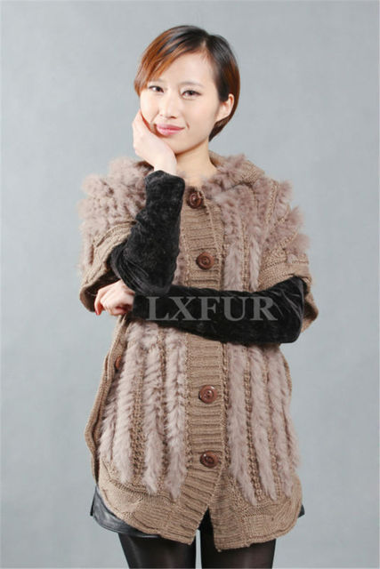 Genuine Womens Knitted Rabbit Fur Vest Woolen Street Style Gilet Botton Waistcoat With Hood Fashion Outwear LX00252