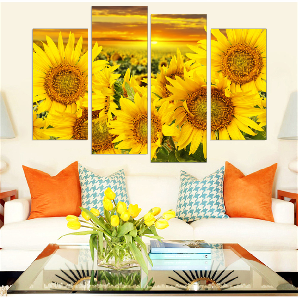 Painting Style Wall Modular Pictures 4 Panel Sunflower Art Canvas For Living Room Cuadros Modern Framework Decoration Type