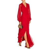 High End Custom 2016 Autumn Women XXXL Bow Full Sleeve Bandage Dress Vintage Maxi Long Red