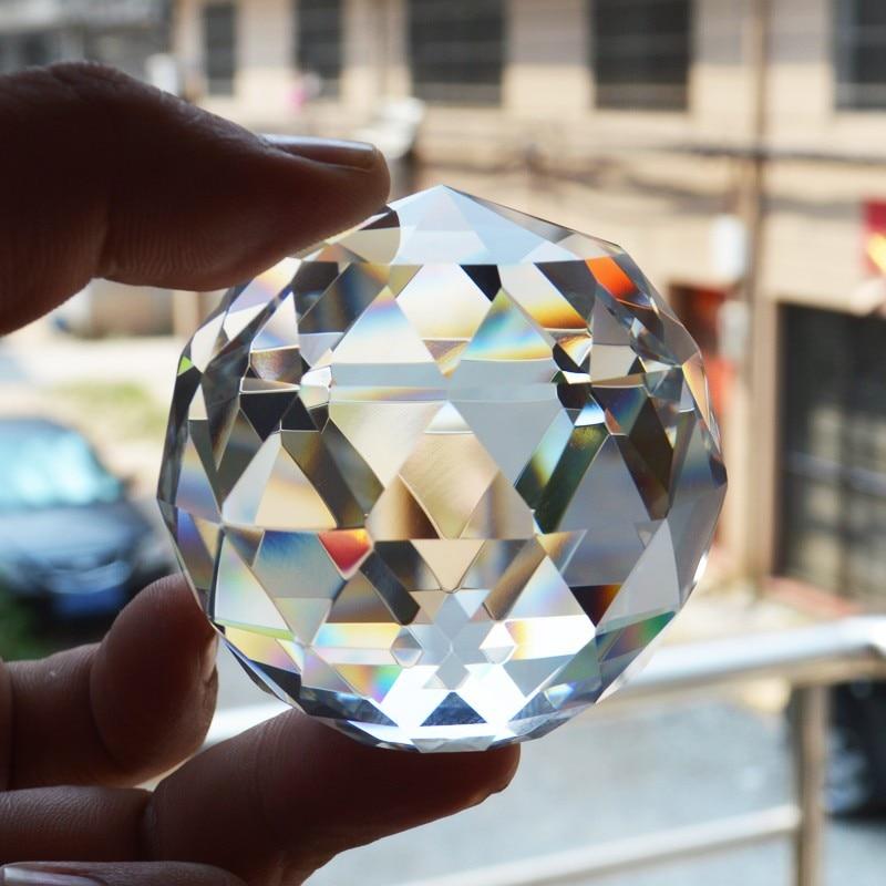 6cm fasetes kristāla lodīšu Feng shui papīra svars dekoratīvie stikla lodīšu spīdīgi dzimšanas dienas dāvanas mājas apdares piederumi
