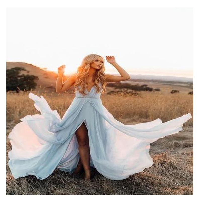 LORIE Elegant Sky Blue Beach Wedding Dress 2019 Cap Sleeve High Split  Boho Bride Dress Free Shipping Custom Made Wedding Gown