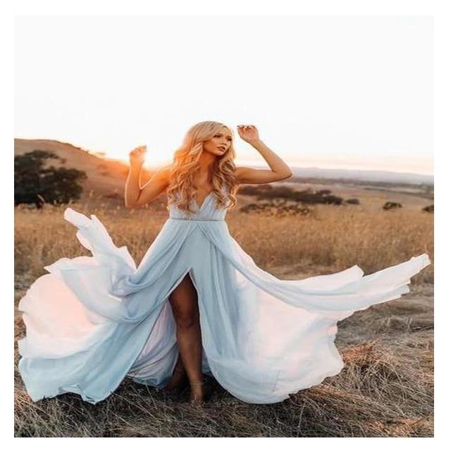 Us 57 81 41 Off Lorie Elegant Sky Blue Beach Wedding Dress 2019 Cap Sleeve High Split Boho Bride Dress Free Shipping Custom Made Wedding Gown In