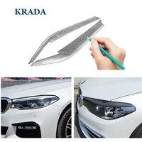 KRADA Voiture Style Lampe Eyebrow Paupière sur Voitures 2 pcs/ensemble Couverture En Fiber de Carbone Garniture De Voiture Autocollants pour BMW E90